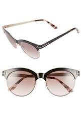 Women's Tom Ford 'Angela' 53Mm Retro Sunglasses Shiny Black Gradient Brown