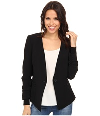 Adrianna Papell Button Jacket W Sweater Trim Black Women's Jacket