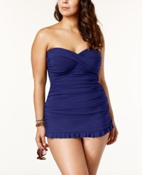 Gottex Profile By Plus Size Tummy Control Ruched Ruffled Swimdress Women's Swimsuit Ink