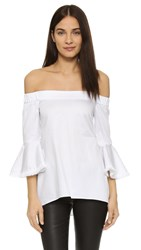 N Nicholas Off Shoulder Fringe Top White