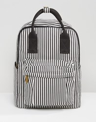 Qupid Stripe Backpack With Front Pocket Black White Stripe