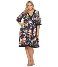 Kiyonna Weekend Wrap Dress Spring Flora Multi