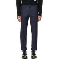 Wacko Maria Navy 'Guilty Parties' Striped Johnny Trousers