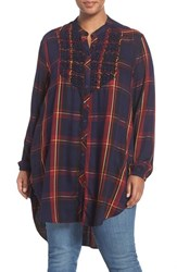 Melissa Mccarthy Seven7 Plus Size Women's Smocked Bib Plaid High Low Tunic