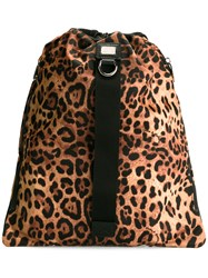 Dolce And Gabbana Leopard Print Backpack Black