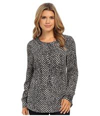 Kensie Speckled Chevron Top Ksnk4478 Pearl Combo Women's Clothing Bone