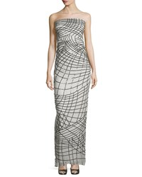 Monique Lhuillier Sequin Column Gown White Black