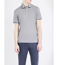 Etro Paisley Trimmed Silk And Cotton Blend Polo Shirt Grey