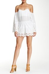 Dee Elle Strapless Mixed Media Romper White