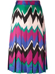Salvatore Ferragamo Chevron Print Skirt Pink Purple