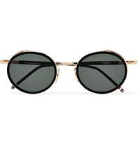Thom Browne Round Frame Gold Tone And Enamel Sunglasses Gold
