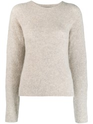 Off White Woman Ribbed Crew Neck Jumper Grey