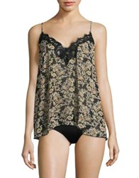 Free People Printed Lace Trimmed Camisole Ivory