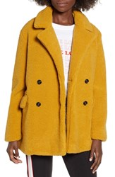 Bp. Textured Double Breasted Coat Yellow Mineral