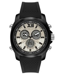 Sean John Men's Portofino Analog Digital Black Silicone Strap Watch 47Mm