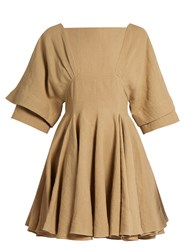 J.W.Anderson Square Neck Linen Dress Camel