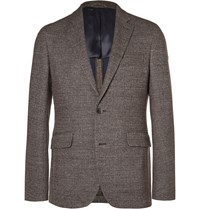 Hackett Brown London Slim Fit Checked Knitted Blazer Brown