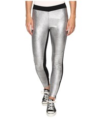 Converse Metallic Moto Leggings Black Silver Women's Casual Pants
