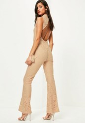 Missguided Nude Open Back Sleeveless Lace Jumpsuit
