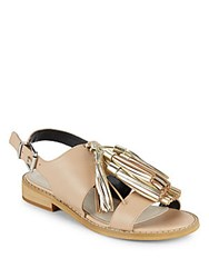 Saks Fifth Avenue Maria Glossy Leather Sandals Natural