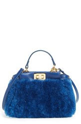 Fendi 'Micro Peekaboo' Genuine Shearling And Lambskin Leather Bag Blue Extra Small Blue Cobalto