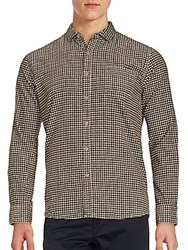 Saks Fifth Avenue Black Checkered Long Sleeve Shirt Brown