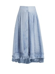 Thierry Colson Romane Pleated Cotton And Silk Blend Voile Skirt Blue