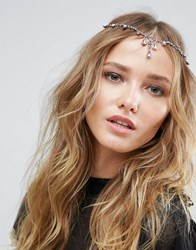 Asos Pretty Crystal Front And Back Hair Clip Multi