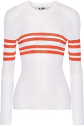 Msgm Striped Ribbed Knit Sweater White