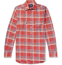 Drakes Drake's Checked Cotton Flannel Shirt Red