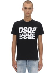 Dsquared Printed Cotton Jersey T Shirt Black