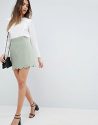 Asos A Line Mini Skirt With Scallop Hem Mint Green