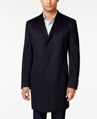 Kenneth Cole Reaction Elan Navy Plaid Slim Fit Overcoat