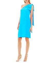 Nicole Miller New York Solid Silk Blend Layered Accent Dress Turquoise