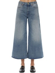 Gucci Wide Leg Washed Cotton Denim Jeans Blue Deim