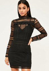 Missguided Black Lace Frill Detail Bodycon Dress