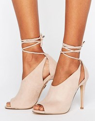 Lipsy Peep Toe Shoe Boot With Tie Detail Grey