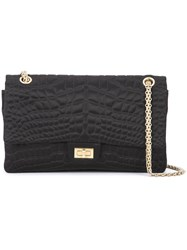 Chanel Vintage Croc Embroidered 226 Double Flap Bag Black