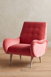 Anthropologie Velvet Losange Chair Medium Pink