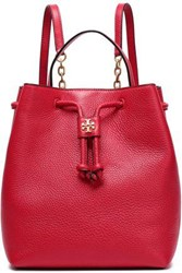 Tory Burch Georgia Embellished Textured Leather Backpack Red