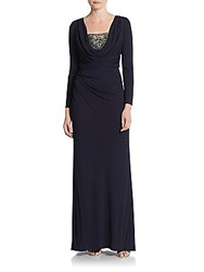 David Meister Embellished Cowlneck Knit Dress Navy