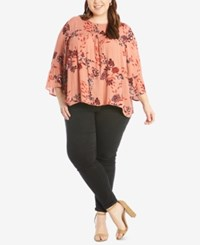 Eyeshadow Trendy Plus Size Floral Print Top Coral Combo