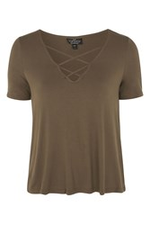 Topshop Petite Cross Front Swing T Shirt Khaki
