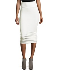 Twisted Stretch Knit Tube Skirt White Smoke