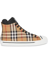 Burberry Vintage Check And Neoprene High Top Sneakers Brown