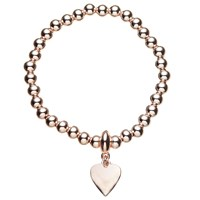 John Lewis Ball Bead Heart Charm Stretch Bracelet Gold