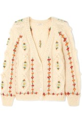 Mes Demoiselles Chelsea Embroidered Cable Knit Mohair Blend Cardigan Cream