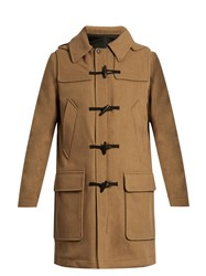 Ami Alexandre Mattiussi Hooded Wool Blend Duffle Coat Beige
