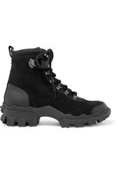 Moncler Helis Leather Trimmed Suede Ankle Boots Black