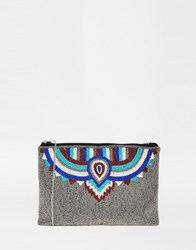 Glamorous Beaded Clutch Bag Pewter Beaded Multi